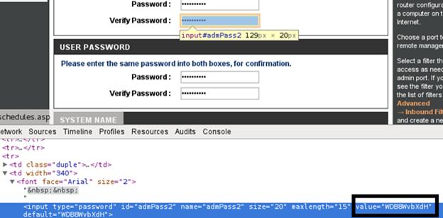 Даже скрытые звёздочками пароли можно легко посмотреть через консоль браузера (кнопка F12 в Chrome).