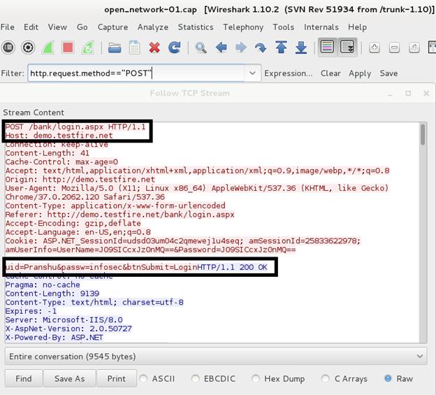 В результате анализа с помощью Wireshark мы перехватили вход пользователя в онлайн-банкинг, где в незашифрованном виде отображается логин и пароль.