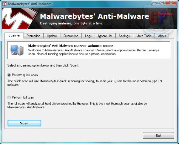 Malwarebytes Antimalware.