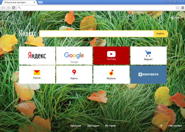 Визуальные закладки Яндекса.
