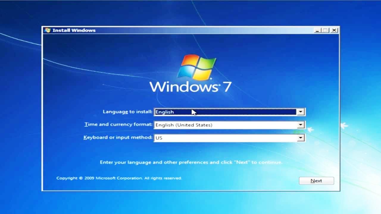 Переустановка Windows 7