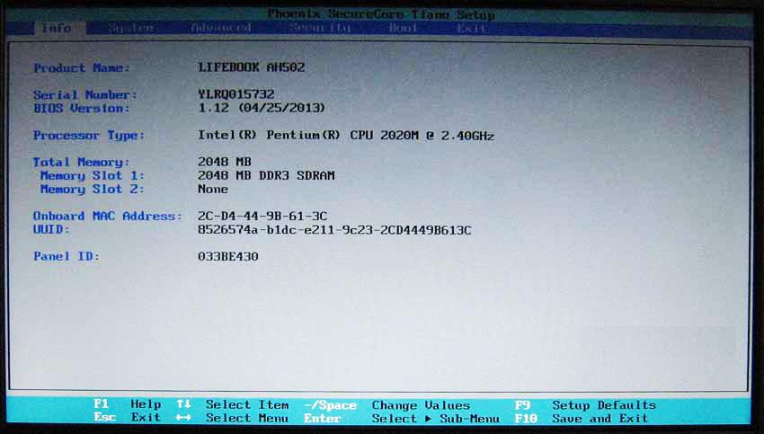 Серийный номер в BIOS
